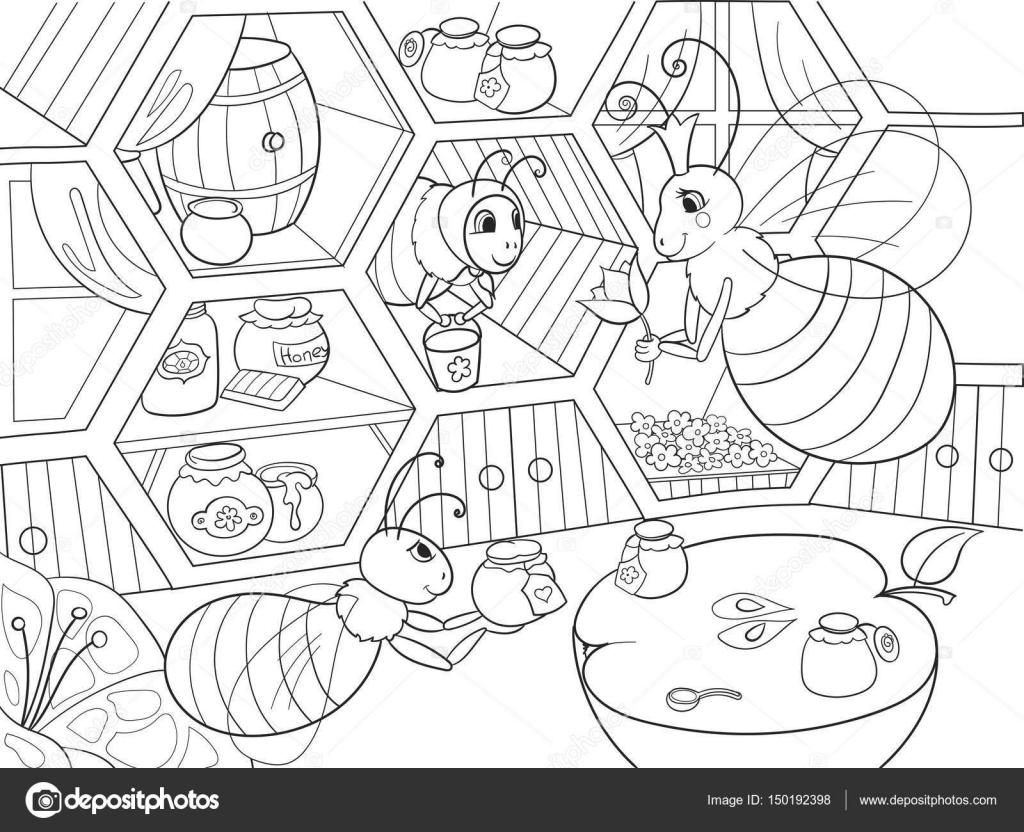 Iç Ve çocuklar Için Boyama Evde Arıların Aile Hayatı Vektör çizim