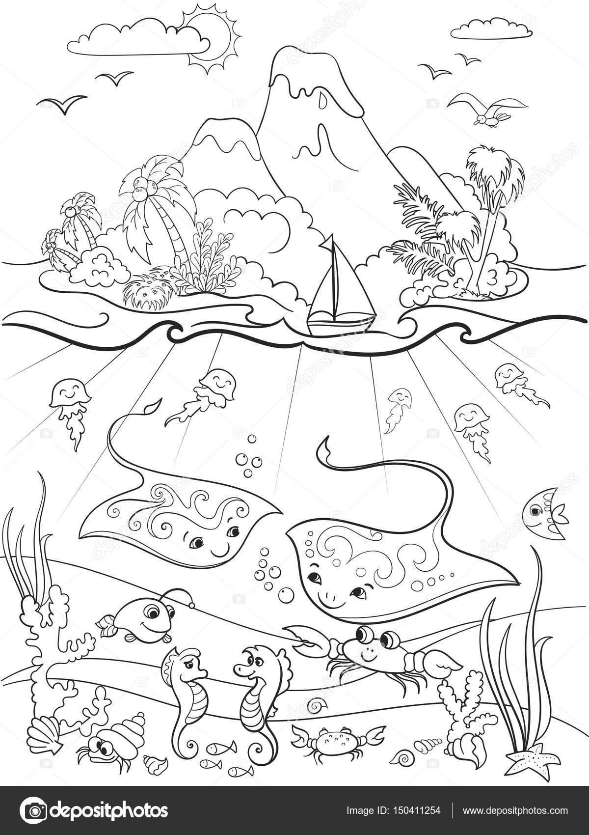 раскраска каравелла подводный мир с рыб растений остров и