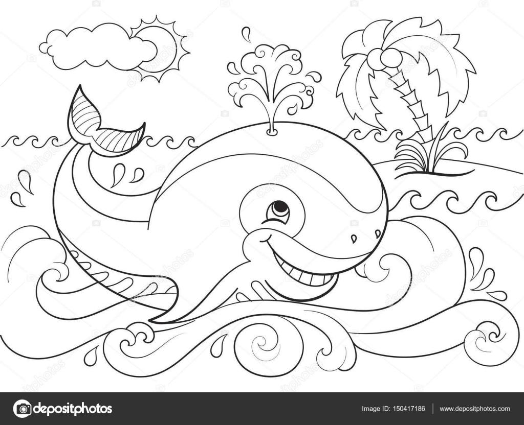Ballena azul en un fondo de mar para colorear para niños dibujos ...