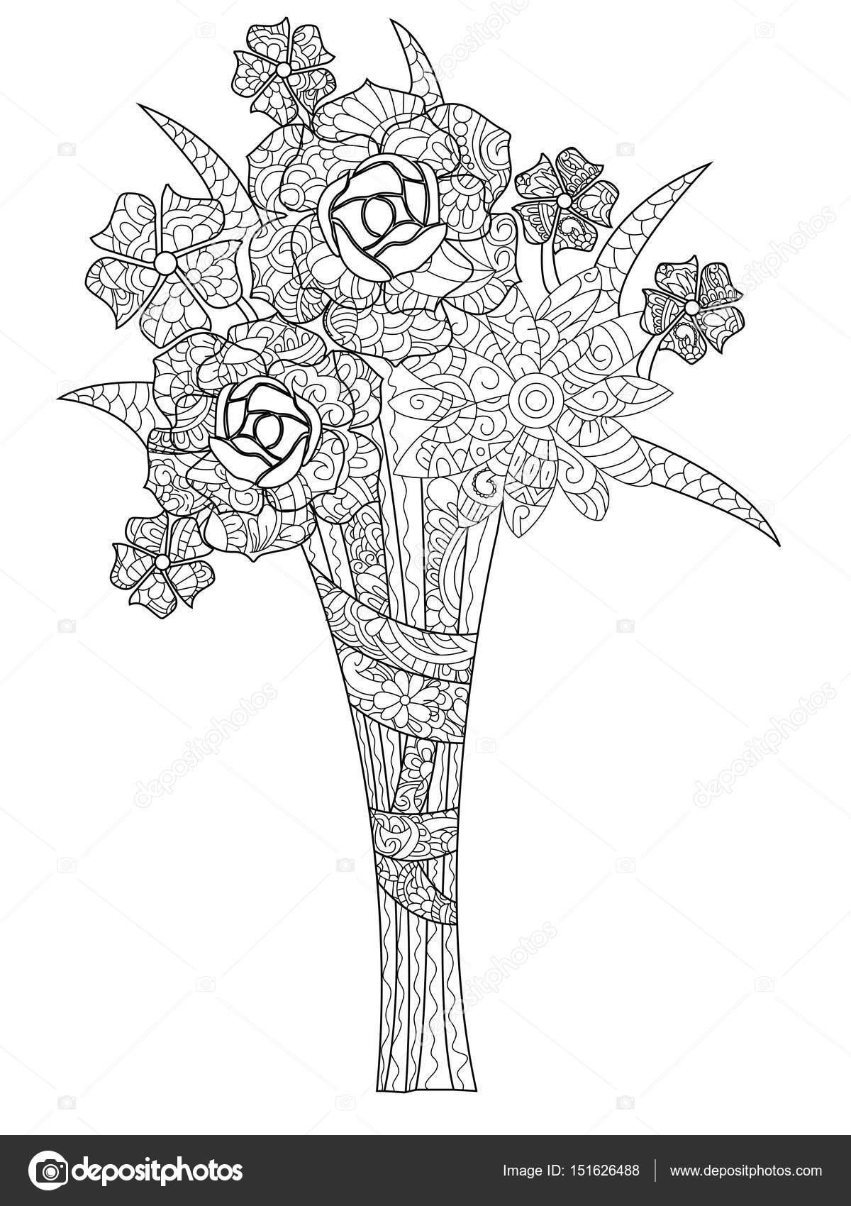 Ramo de ilustración vectorial de tres rosas de libro para colorear ...