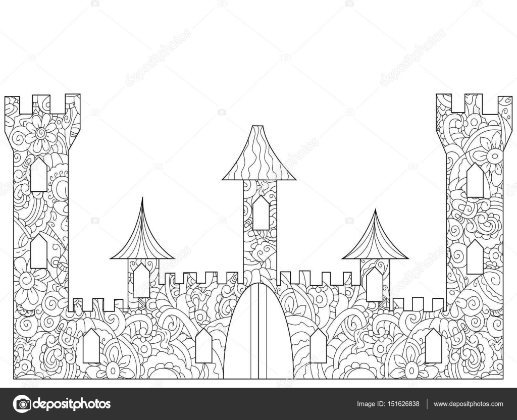 Old Castle Coloring book for adults — Stock Vector © toricheks2016 ...