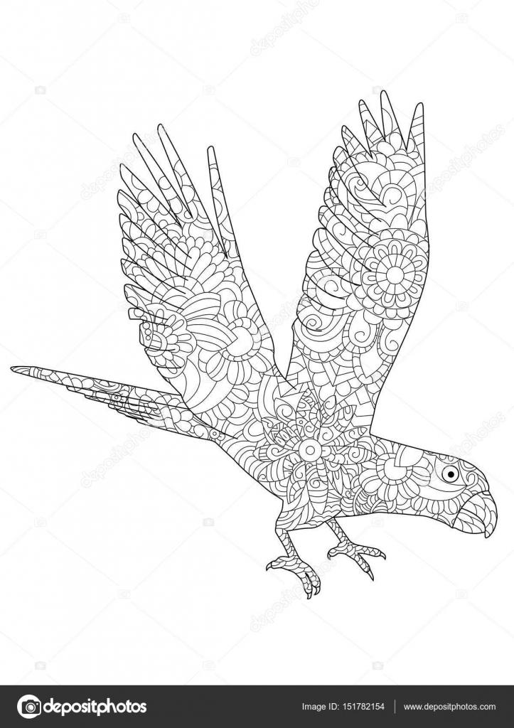 Ilustración de vector de un loro vuelo libro de colorear Ara ...