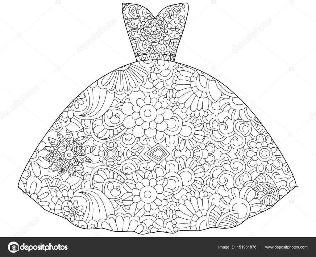Elbise Prenses Boyama Kitabı Vektör çizim Stok Vektör