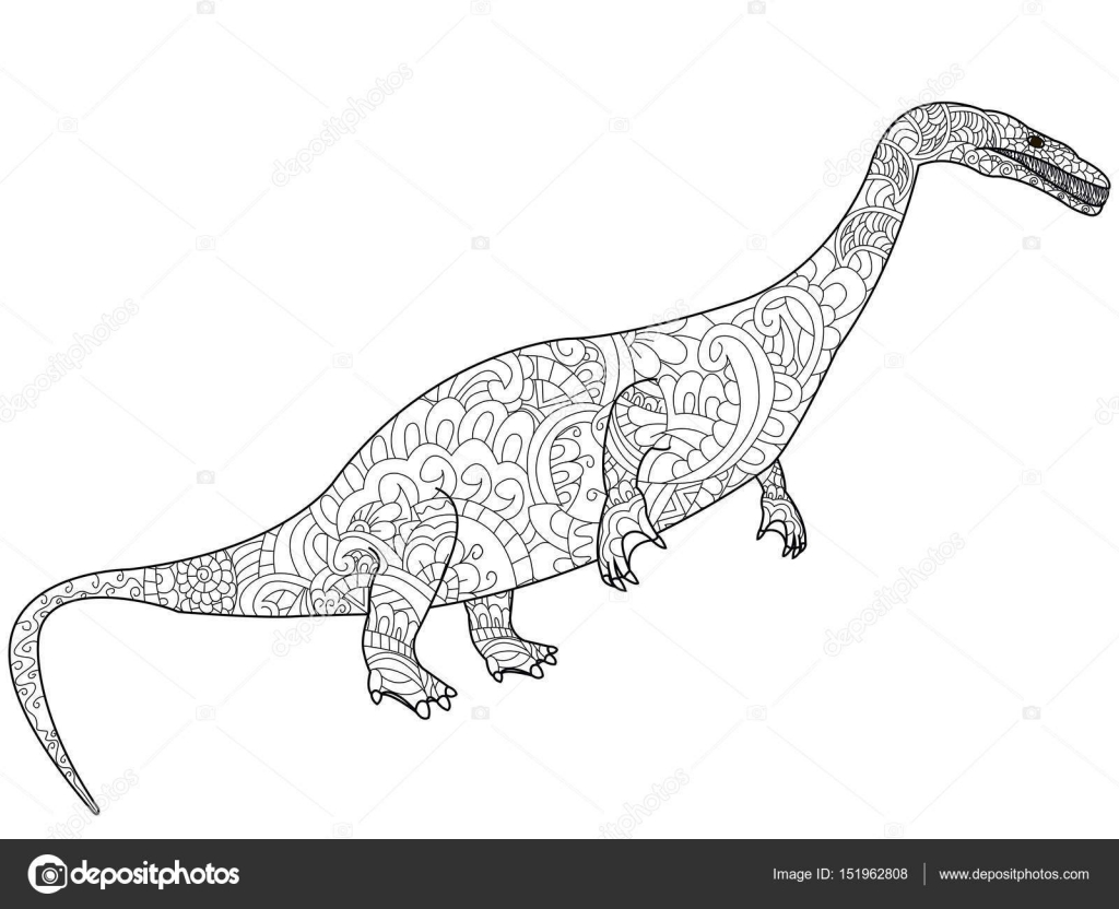 Nothosauru dragon Coloriage vecteur pour les adultes — Image vectorielle