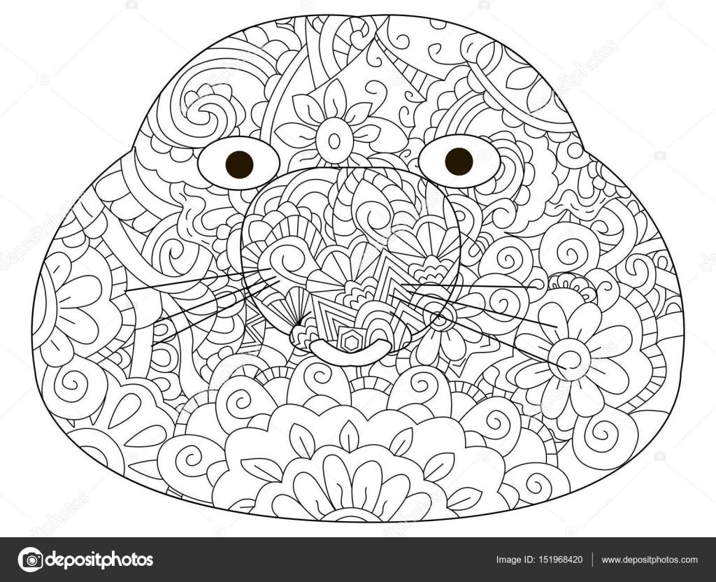 векторные раскраски для взрослых головы кротовые векторное