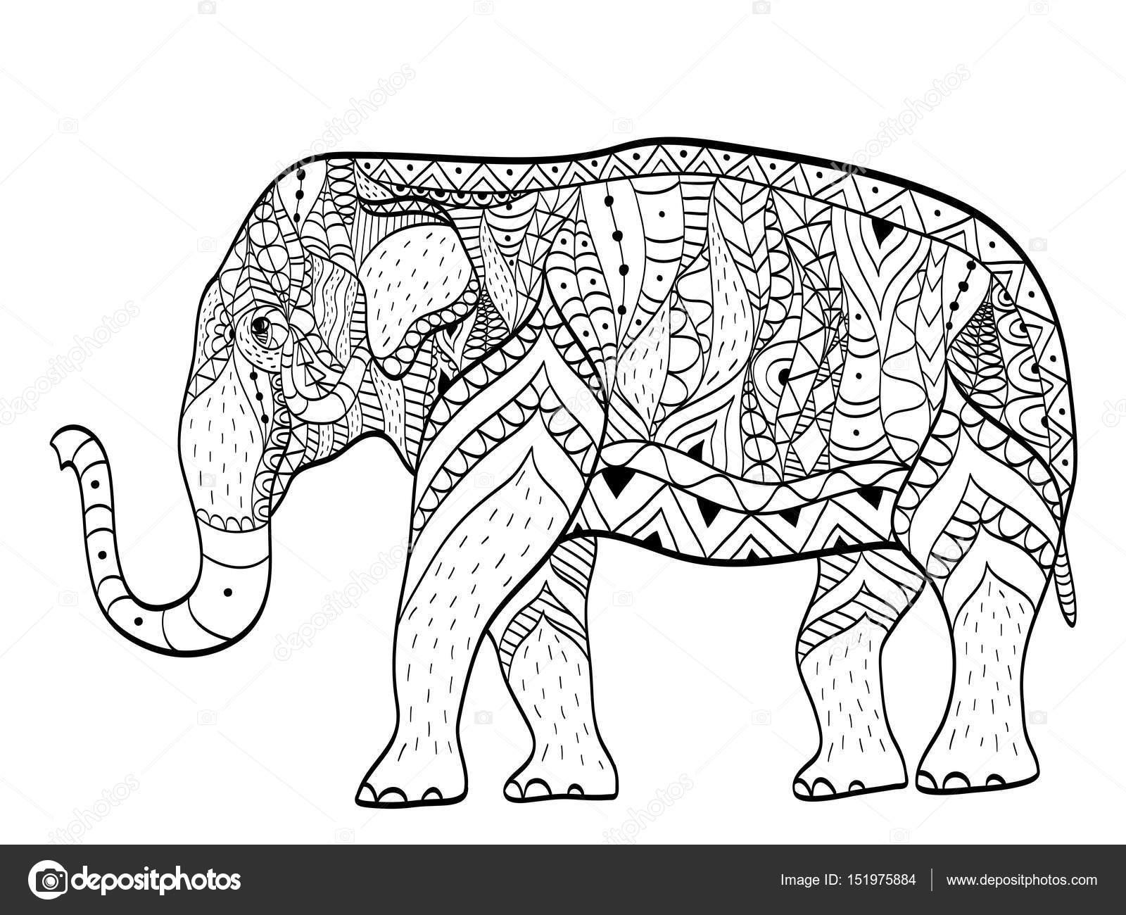 olifant boek vector kleurplaten voor volwassenen