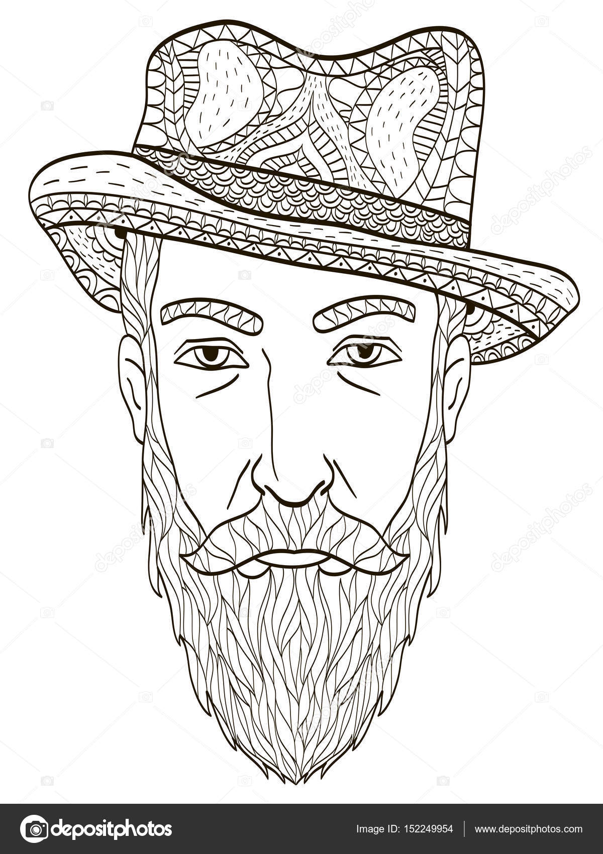 Head Of An Elderly Man With A Beard Coloring Book Vector For