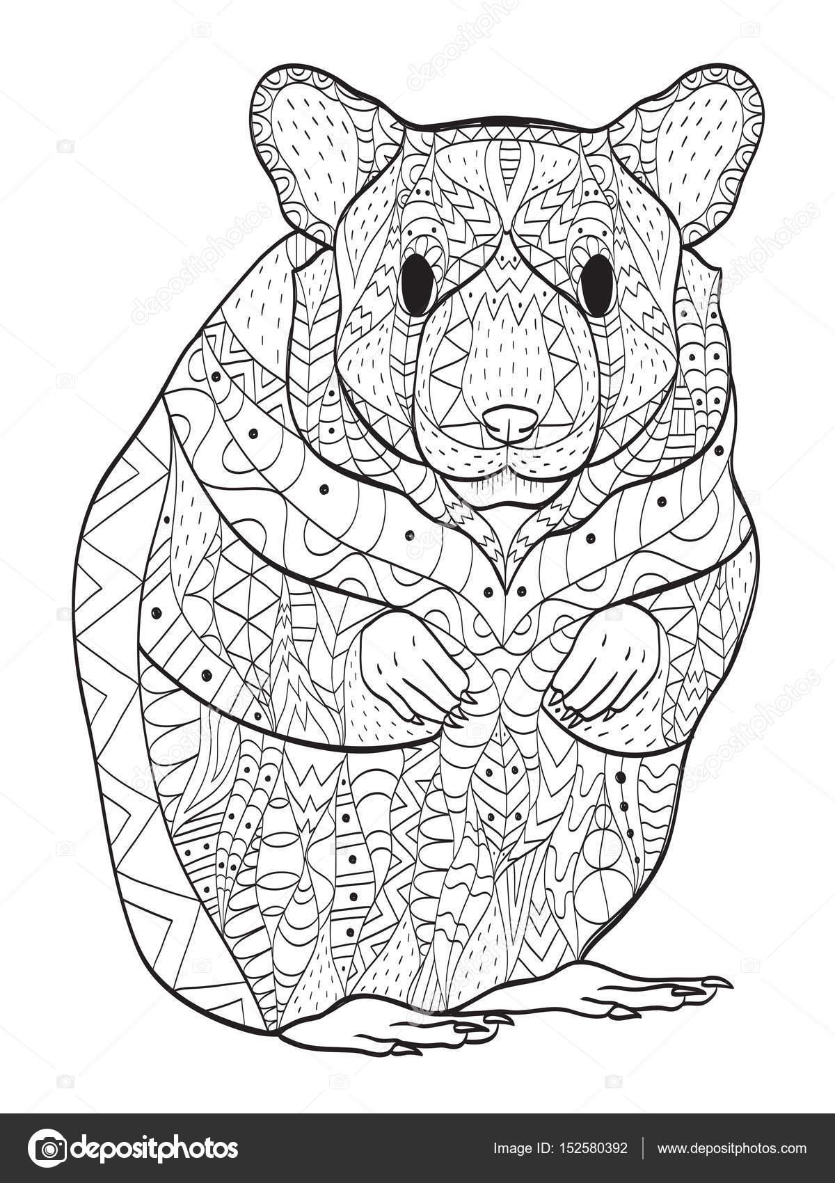 Fotos: hamsters para colorear | Roedor hamster para colorear vector ...