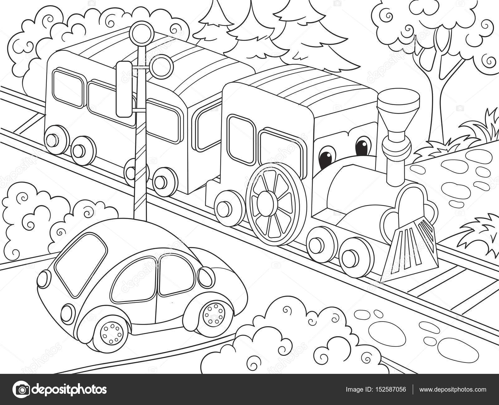 Cartoon Train And Car Coloring Book For Children