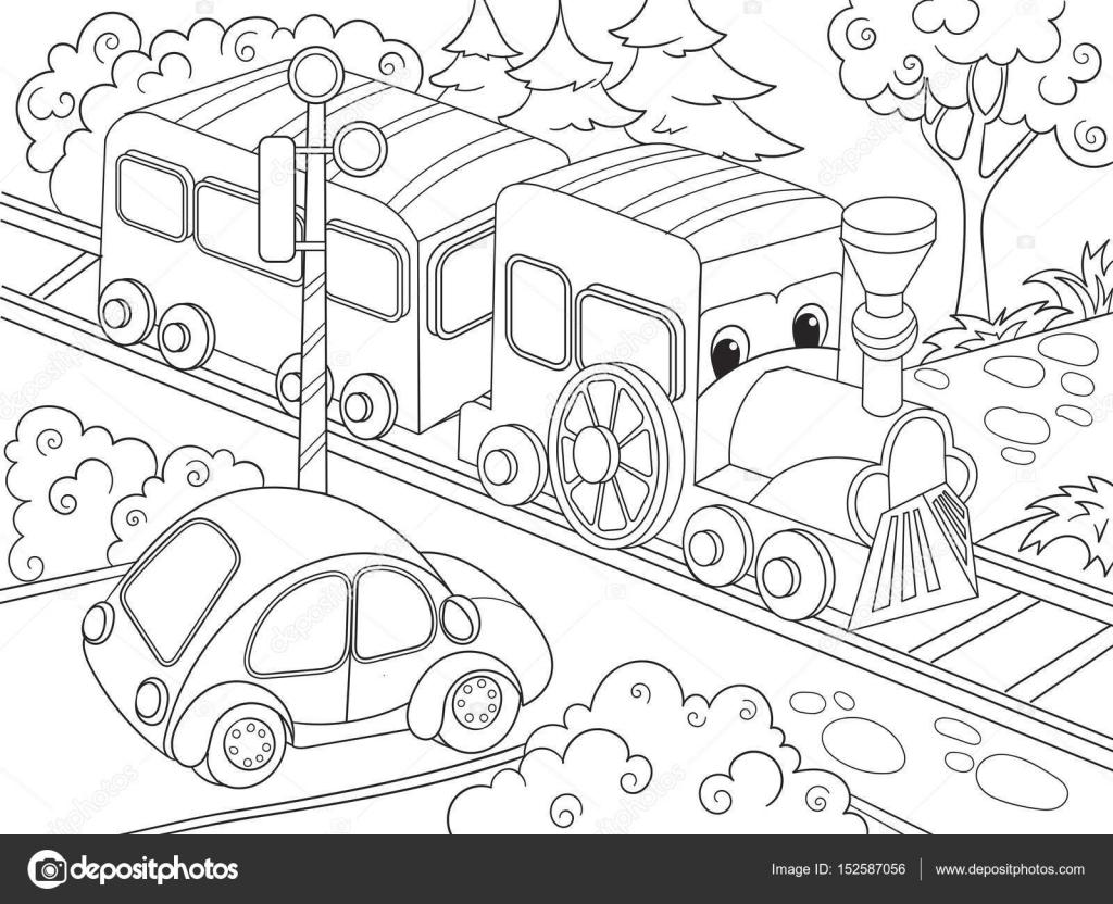 Kleurplaten Voertuigen Trein.Cartoon Trein Trein En Auto Kleurplaten Boek Voor Kinderen Cartoon