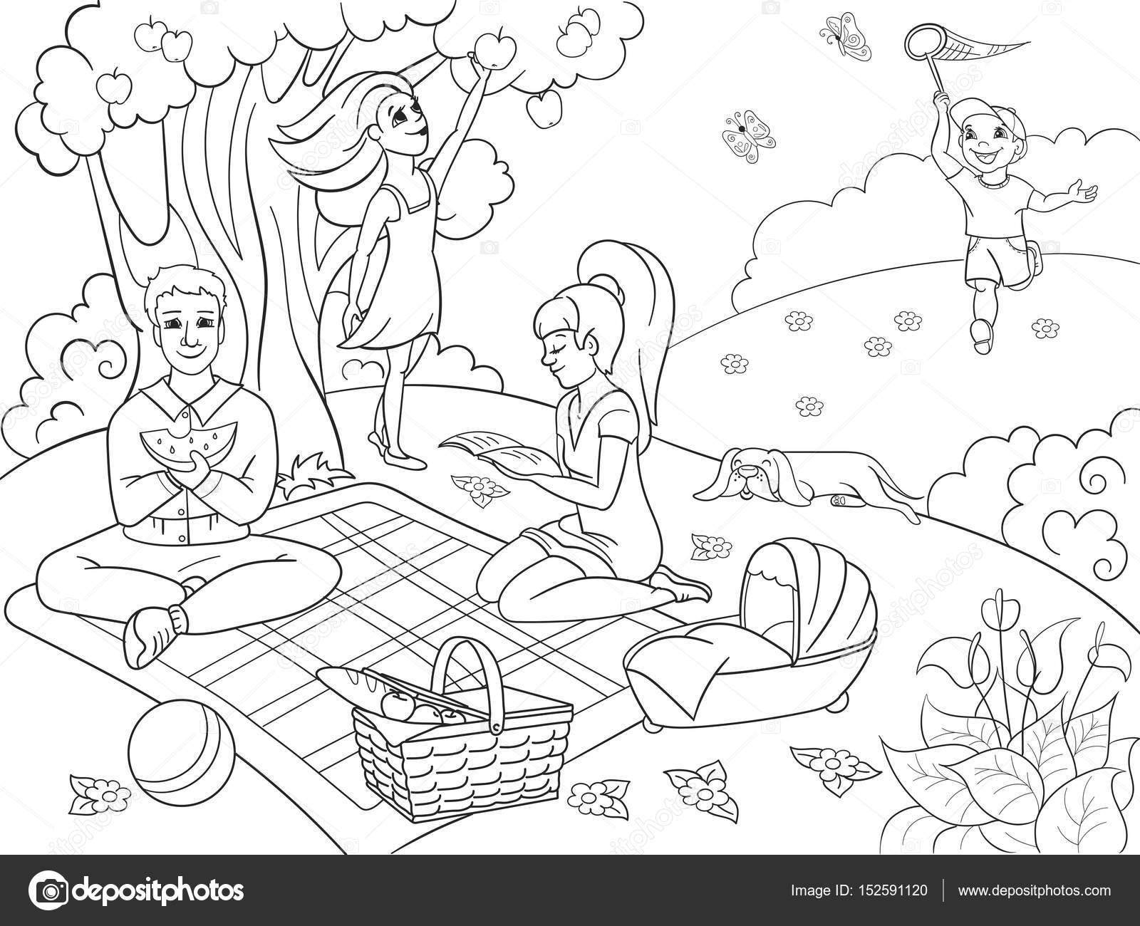 Piknik Doğada Vektör çizim Karikatür çocuklar Için Boyama Kitabı