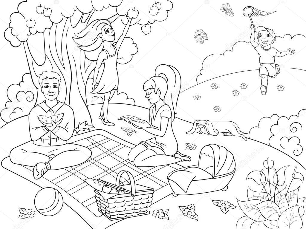 рисунок отдыха на природе карандашом раньше нее была