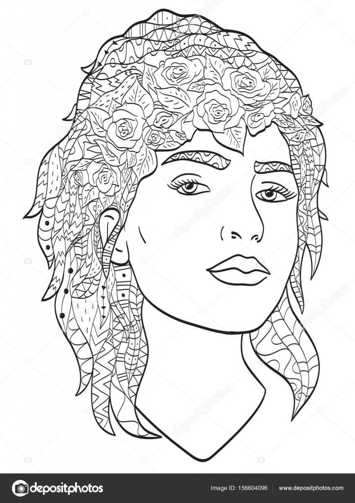 Objetos Largos Para Colorear Hermoso Dibujo Chica Con El Pelo