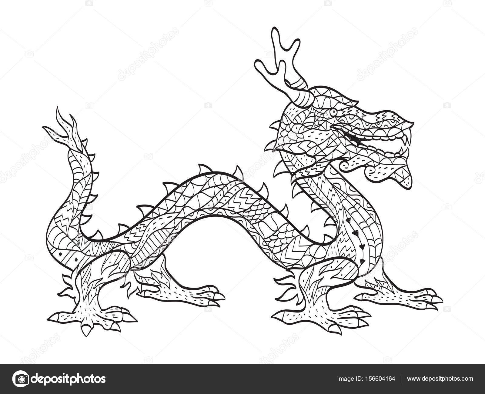 Vector coloriage dragon japonais pour adultes image vectorielle - Dragon japonais dessin ...