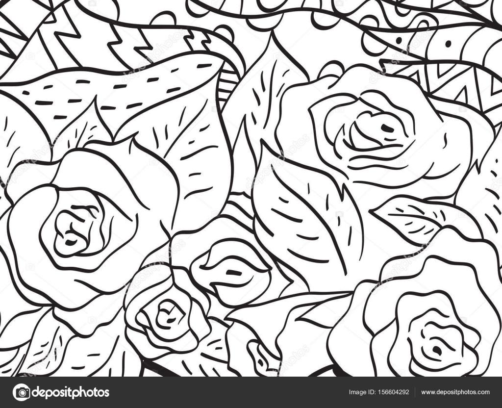 Patrón flor rosa vector para colorear para adultos — Archivo ...