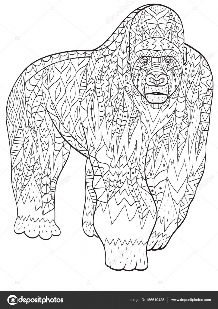 Coloriage Animaux Adulte.Coloriage Animal Gorille Pour Adultes Image Vectorielle