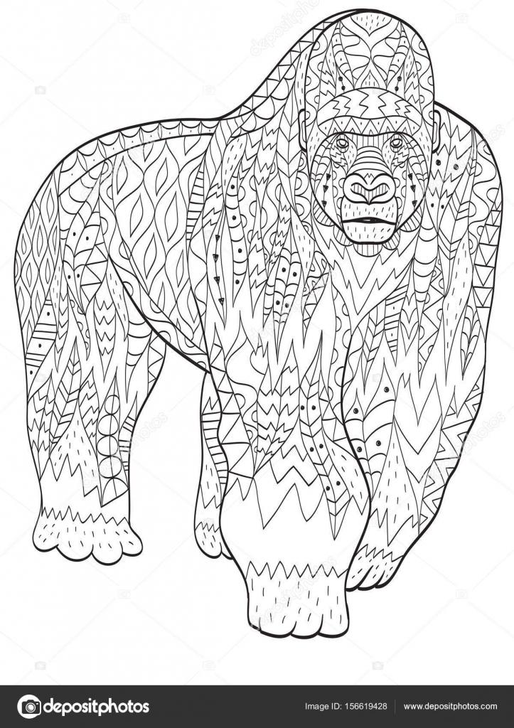 Gorilla Dieren Kleurplaten Voor Volwassenen Stockvector