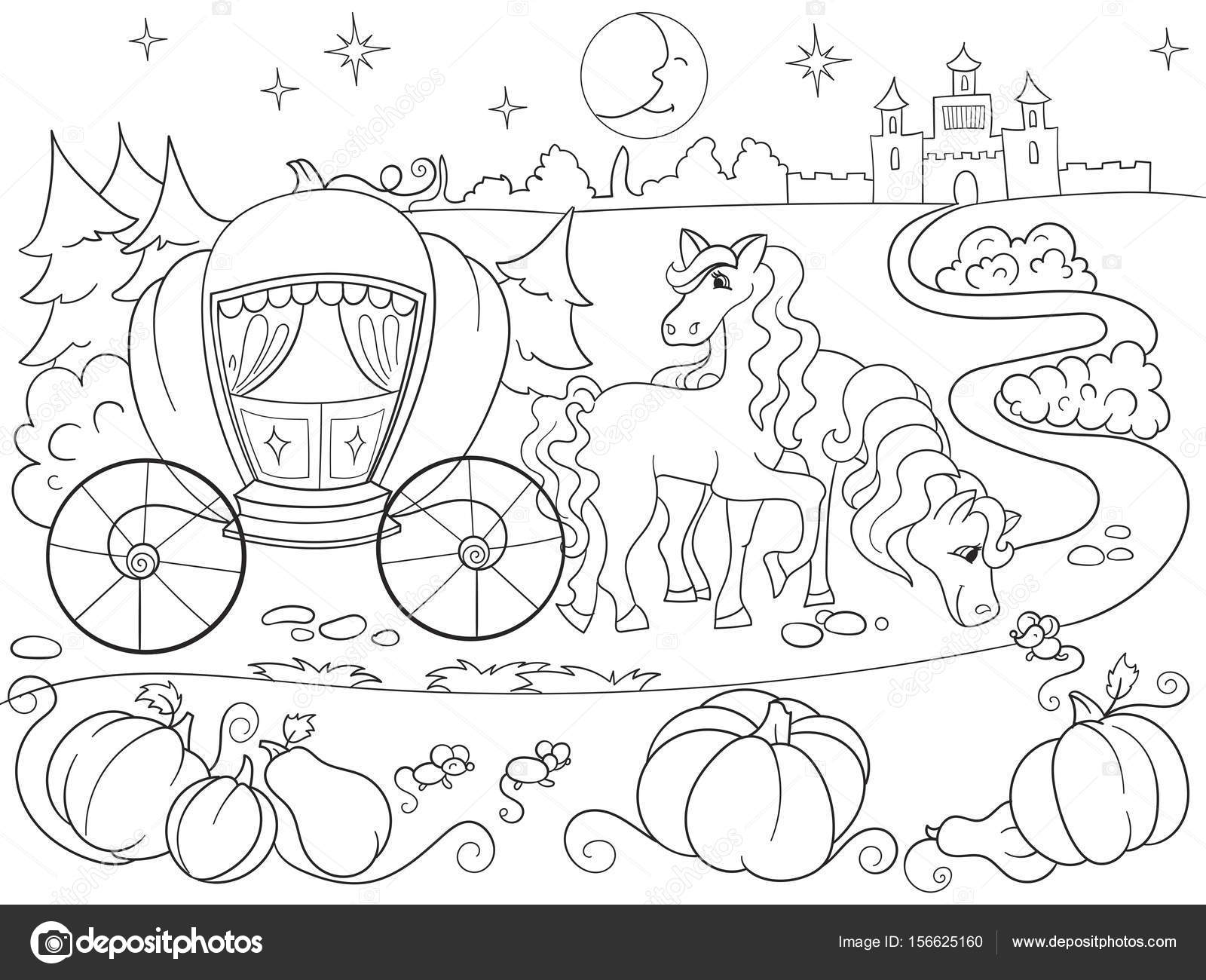 Cinderella Fairy Tale Coloring Book For Children Cartoon Vector