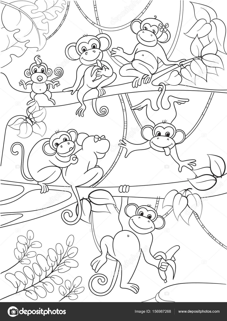 Familia de monos en un árbol del libro para colorear para niños ...