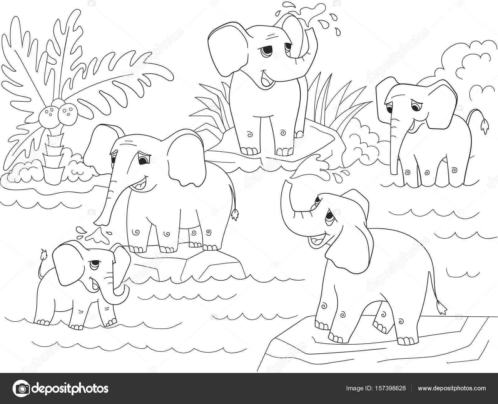 Coloriage Famille Africaine.Famille D Elephants Africains Cahier De Coloriage Pour Enfants