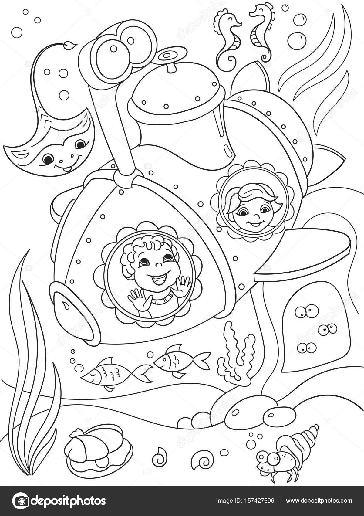 Kinder, die Erkundung der Unterwasserwelt in einem u-Boot ...