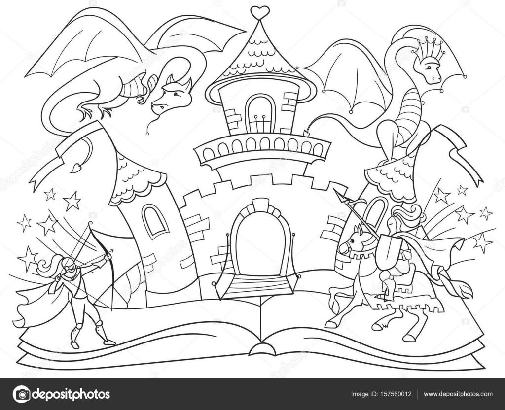Libro Para Colorear Para Niños: Imágenes: Colorear Libro Abierto
