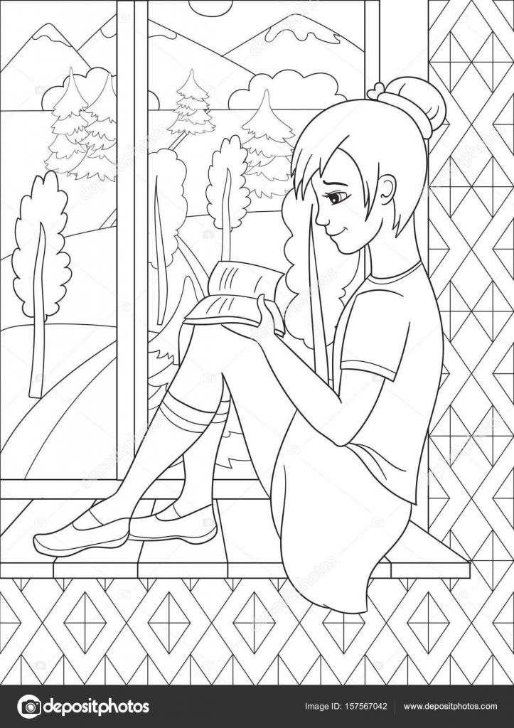 La bella ragazza che si siede su un davanzale e lettura libro guardando fuori dalla finestra - Disegno finestra da colorare ...
