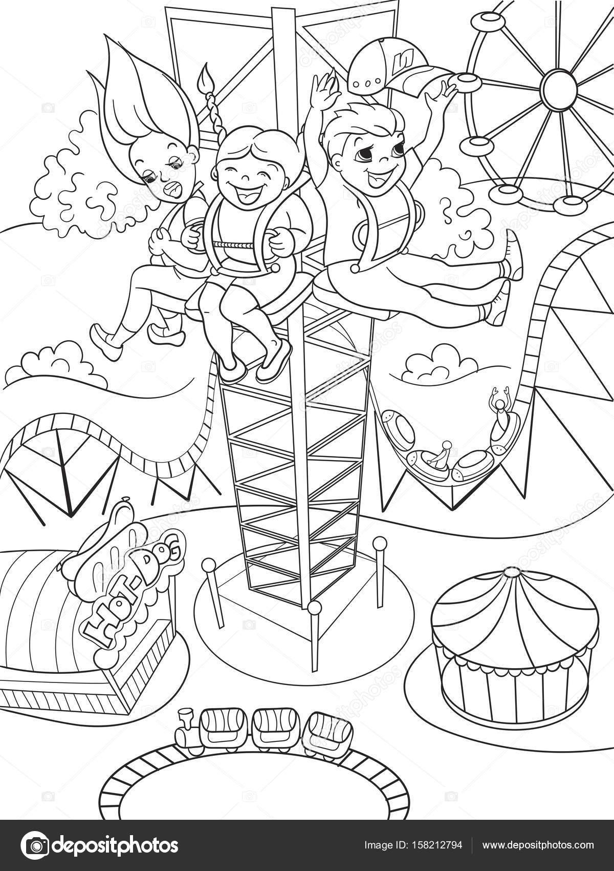 Animado Parque De Atracciones Para Colorear Emoción De Una Caída