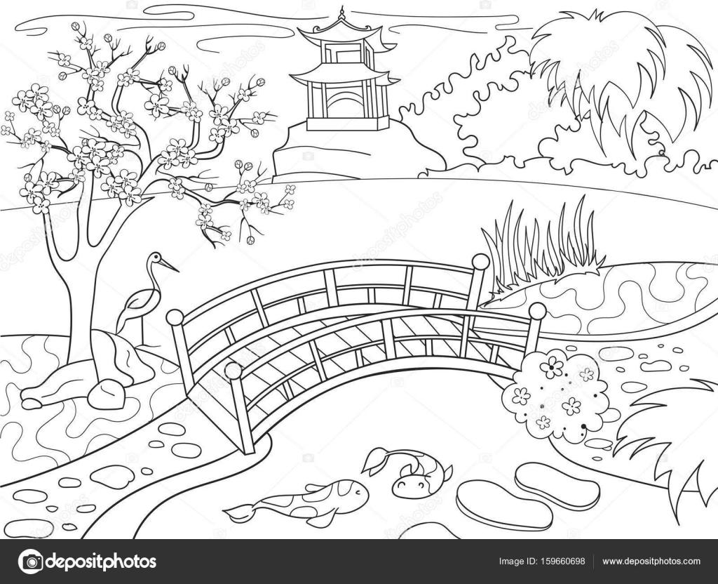 Art der Japan Malbuch für Kinder cartoon. Japanischer Garten-Vektor ...