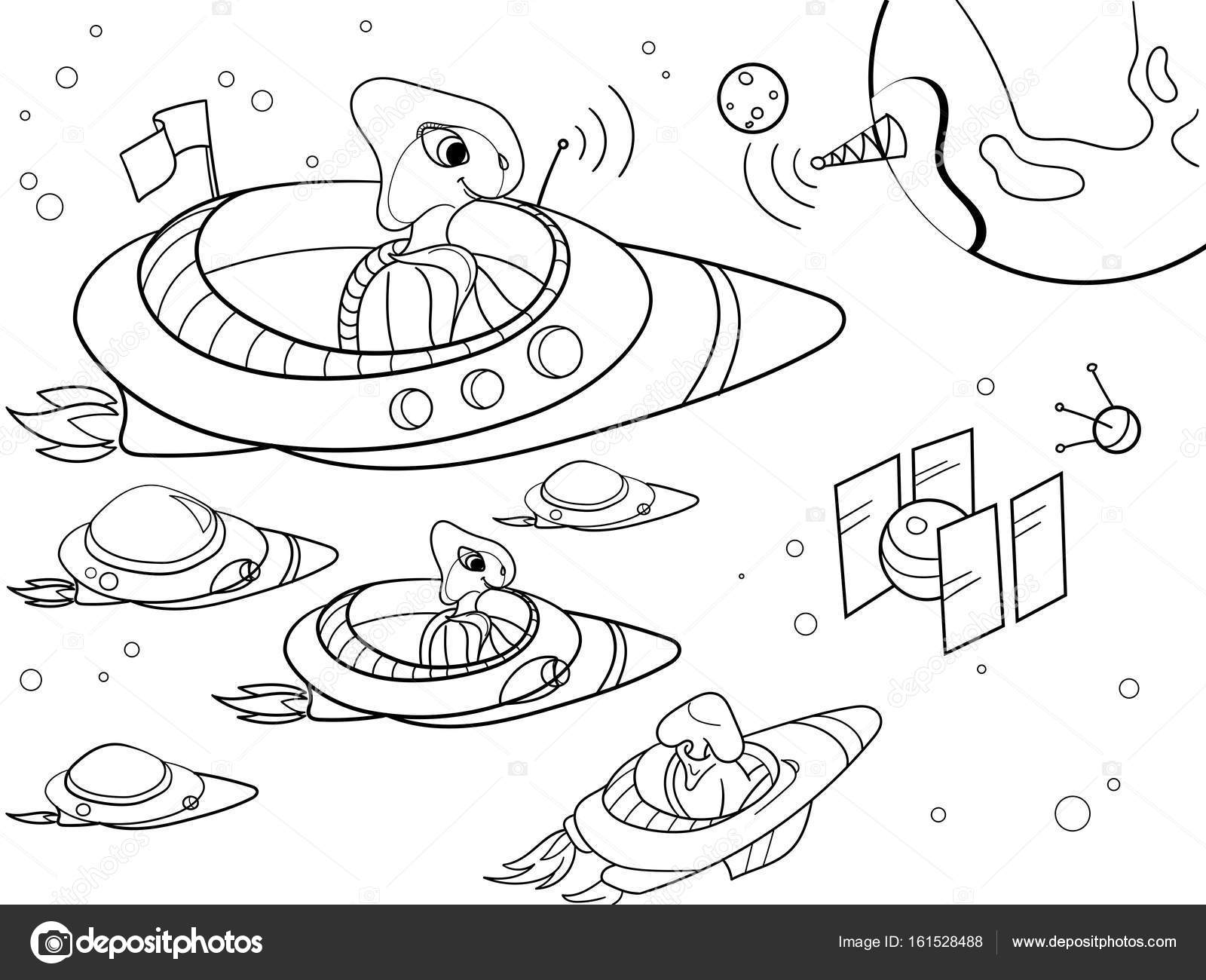 with planets space coloring vector for adults stock