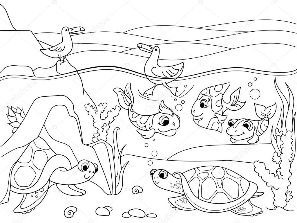 Paisagem da plan cie alagada animais colorir vetor