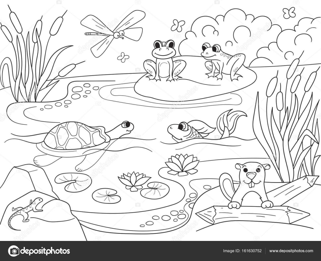 Coloring Pages Of Wetland Animals : Paisaje de humedal con animales para colorear vector