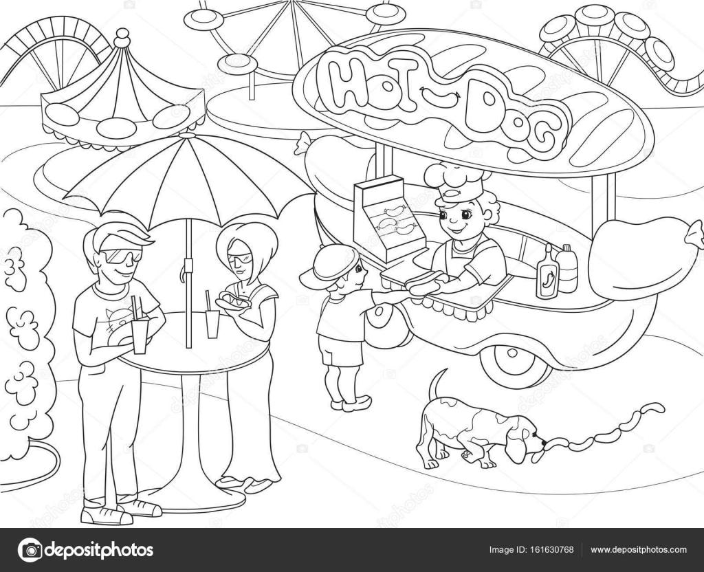 Eğlence Parkı çocuklar Için Boyama Sayfaları Sosisli Sandviç Gıda