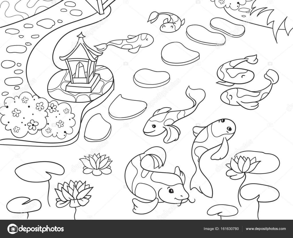 Nature of Japan coloring book for children cartoon. Japanese garden ...