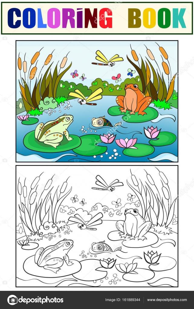 paisagem da planície alagada com animais colorir vetor para adultos