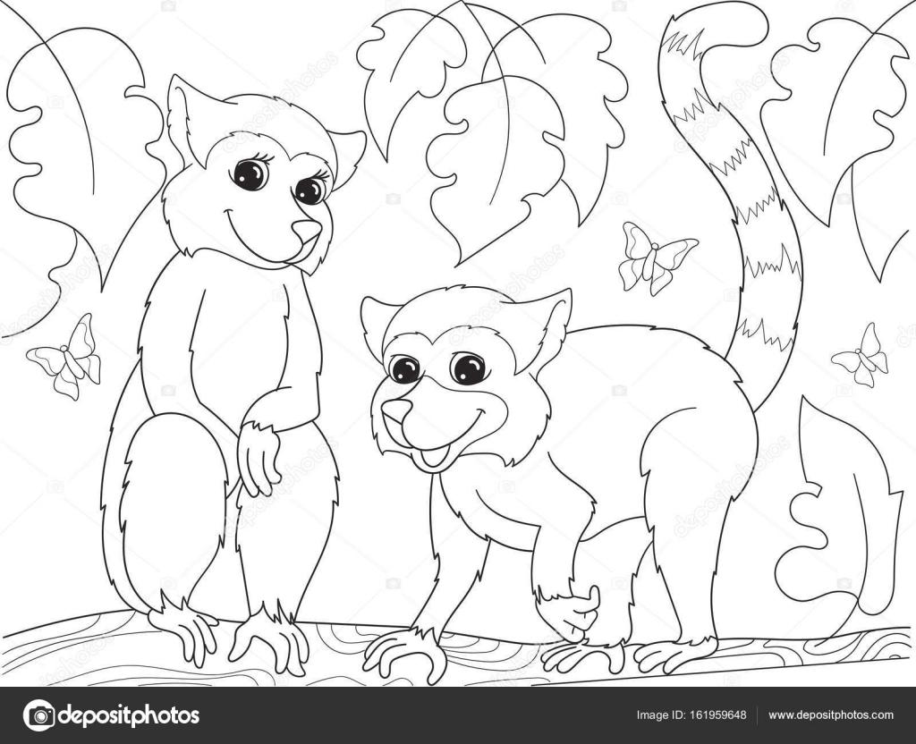 Para niños colorear familia de dibujos animados del libro de lémures ...