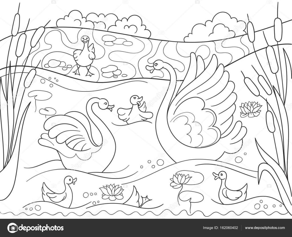 para crianças colorir família de desenho animado do livro de cisne