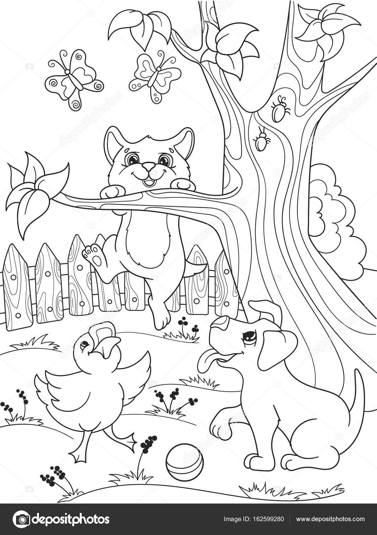 childrens kleurplaat tekenfilm dieren vrienden in de