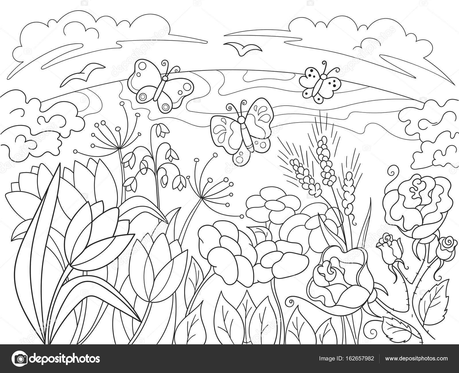 Childrens Kleurplaat Cartoon Glade Met Bloemen In De Natuur