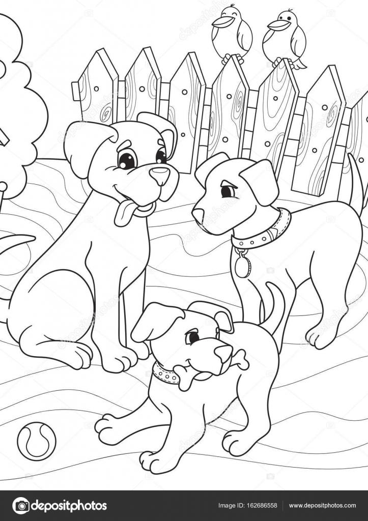 Childrens coloring book cartoon family on nature Mom dog and