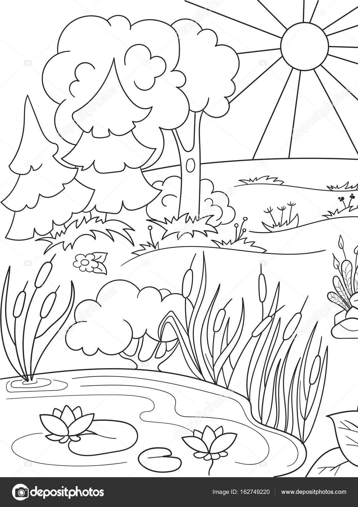 Para colorear dibujos libro naturaleza blanco y negro. Claro en el ...