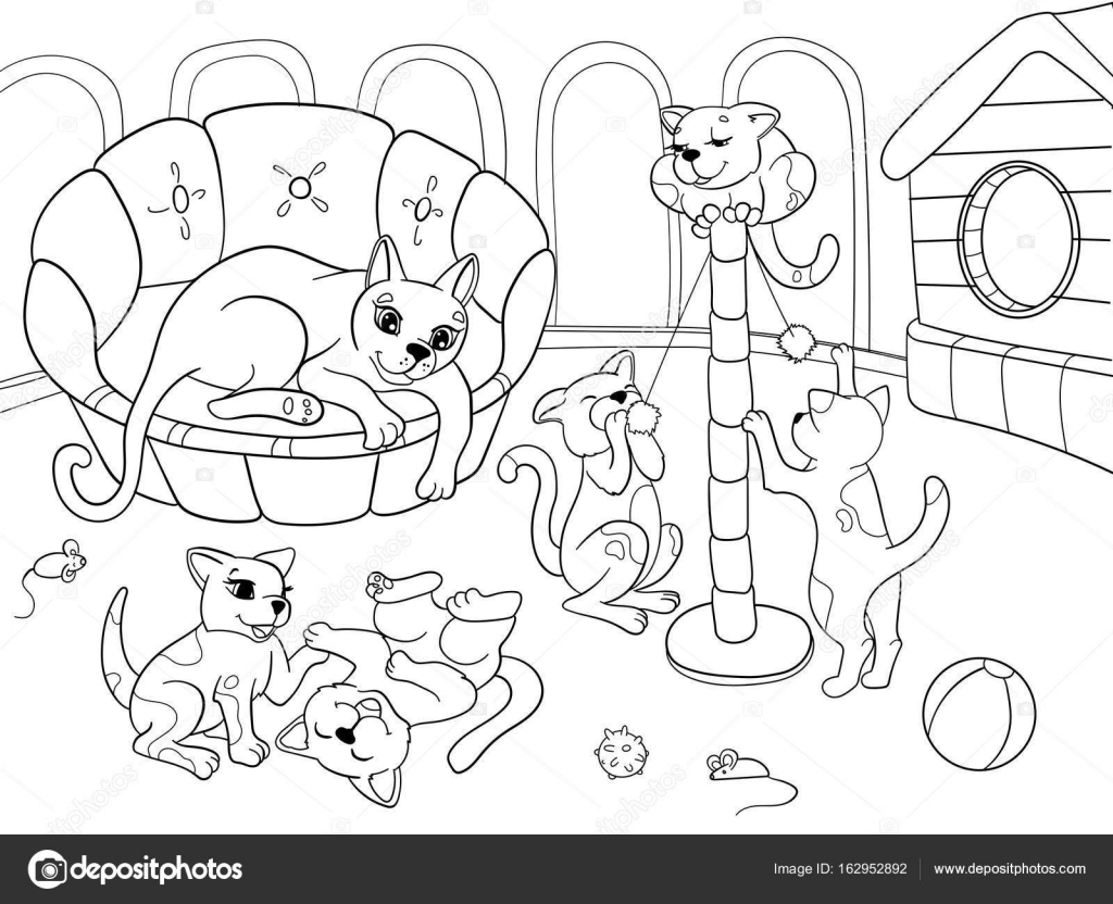 Childrens Coloring Book Cartoon Family On Nature Mom Cat And