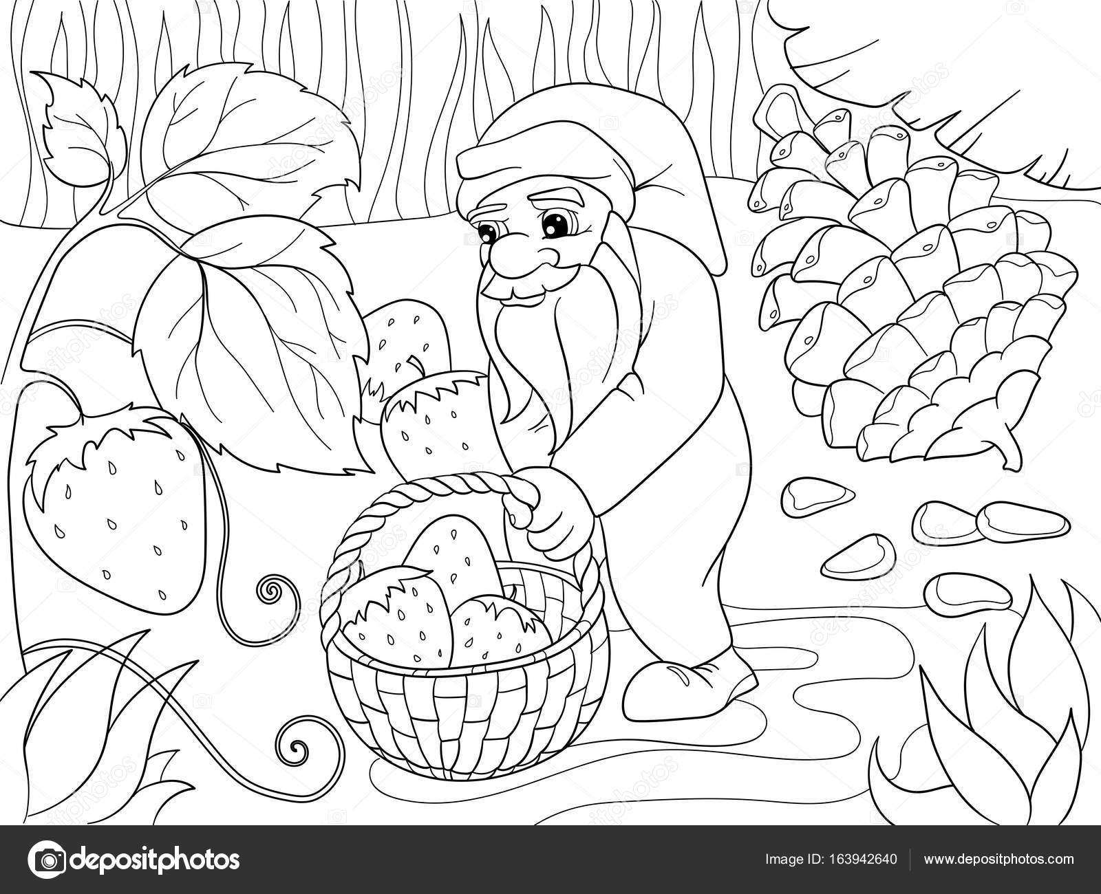 Para colorear, dibujos animados, escena. Enanos en el bosque recoge ...