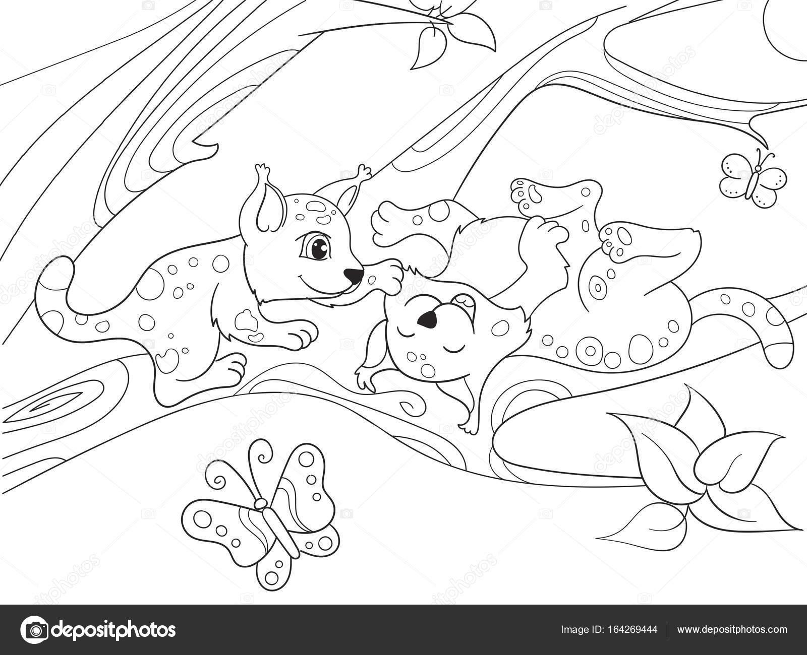 Kleurplaten Van Natuur.Childrens Boek Cartoon Familie Van Luipaarden Op Natuur Kleurplaten