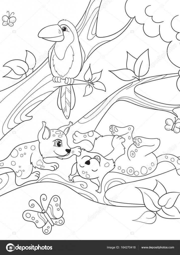 Para niños colorear familia de dibujos animados del libro de ...