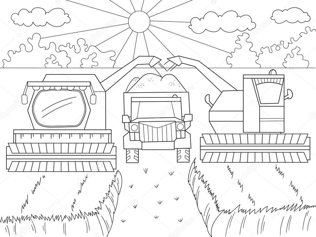 tekenfilm coloring boek voor kinderen herfst oogst