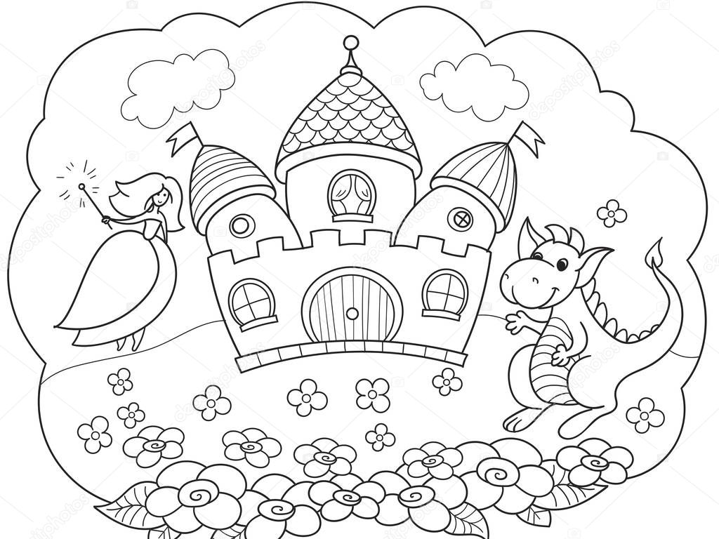 Bubble is a dream. The story of the princess, the dragon and the castle. A childrens fairy tale. Vector storybook.