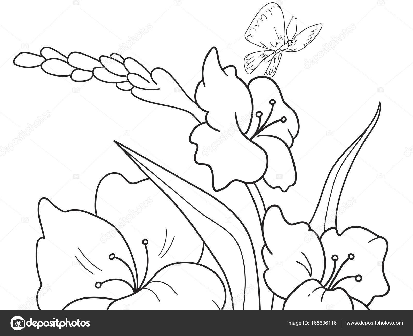 Kleurplaten Natuur Bloemen.Childrens Kleurplaat Cartoon Glade Met Bloemen In De Natuur
