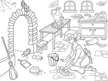 Cinderella cleans up the kitchen. The girl on the floor, around the mess. Cartoon coloring book.