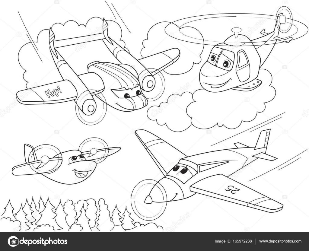 мультфильм раскраски вертолетов и самолетов с лица живой